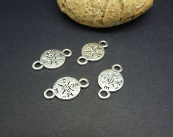 4 round connectors etched compass 17 * 10mm antique silver (8SCA27)