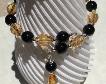 Genuine Black Jasper, Champagne faceted rice beads and teardrop bead accent memory wire bracelet