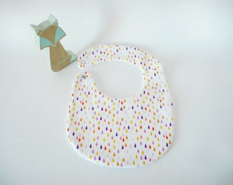 Bib size 0-6 months or 6-18 months - white fabric drops multicolored - white Terry cloth - snap brass - baby food