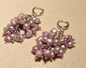 "Purple keshi Pearl Earrings ""The Holy"" small and silver findings"