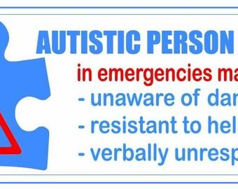 Autism emergency alert decal