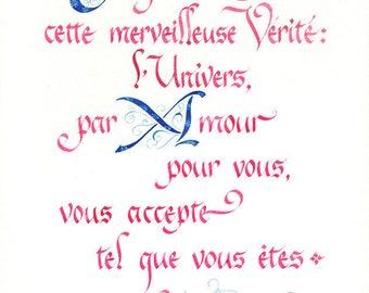 """Calligraphie française // Format medium // Impression couleur sur papier d'art // Style typographique renaissance // """"Vérité"""""""