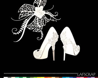 scrapbooking scrap cut-outs set pair pump shoe cutout paper die cut embellishment wedding wedding bow