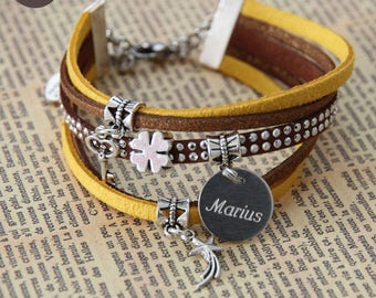 "Bracelet personalized with names ""Basic"" mustard"