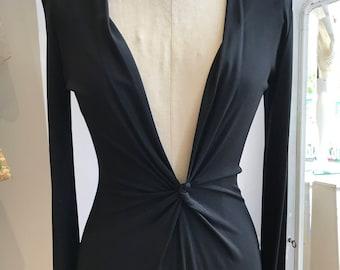 Vintage CELINE black dress / Celine / Designer / Black Evening Dress / Evening Gown / Designer Vintage