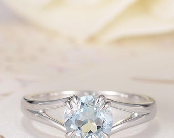 Aquamarine Engagement Ring White Gold Solitaire March Birthstone Ring Claw Prong Split Shank Minimalist Anniversary Promise Women Bridal