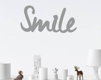 Word to be hung on wall - Smile - original home decor - chipboard
