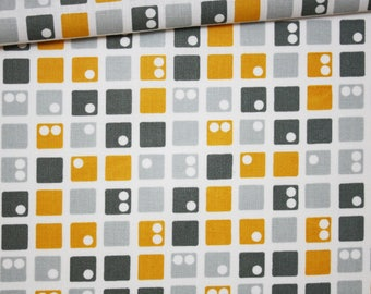 Dominoes mustard yellow, gray, 100% cotton fabric printed 50 x 160 cm pattern yellow dominoes