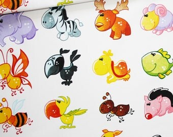 Kids, pets, 100% cotton fabric printed 50 x 160 cm, animals on white background