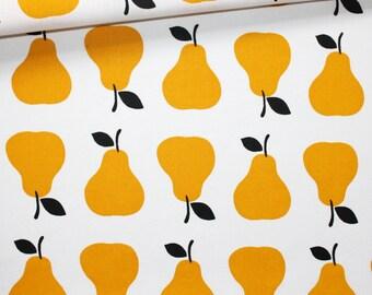 Tissu poires, 100% coton imprimé 50 x 160 cm, poires jaunes orange fond blanc, fruits