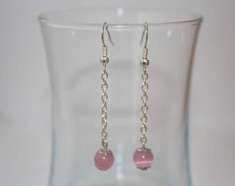 Earrings pink cat eye bead