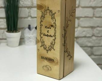 Wedding wine box ceremony Time capsule Keepsake ideas Anniversary Gift for couple Personalized wedding