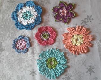 Set of 6 flower applique in cotton - multicolored