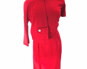 M 50s 60s 2pc Suit Dress Set Jacket Wool Wiggle Sheath Mid Century Red Soft Wool Roseweb Medium