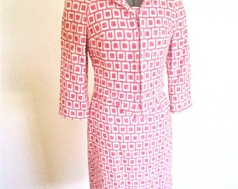 S, 60s Suit Dress 2pc Pink White Woven Squares Jacket Skirt Doumarc Paris France Cotton Jackie O Chanel Like
