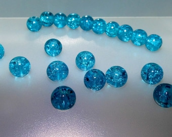15 x 8mm blue Crackle glass beads