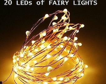 50 Pack of 20 LEDs Fairy Lights, Wedding Decorations lights, LED Mason Jar light Wedding Decor, firefly Lights, Halloween fairy lights