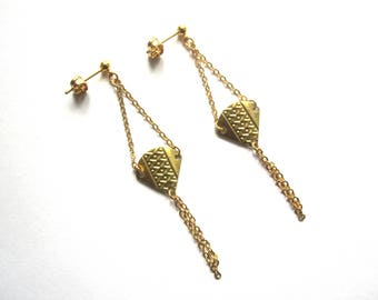 Ethnic style golden earrings