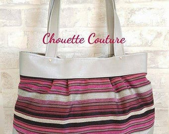 Gray faux leather tote handbag and pink stripes printed fabric / grey / black