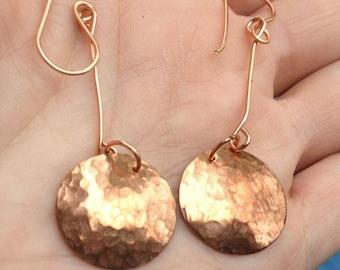 Hammered Copper Disc Dangle Earrings