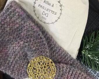 Bandeau tricot hortense chiné rose