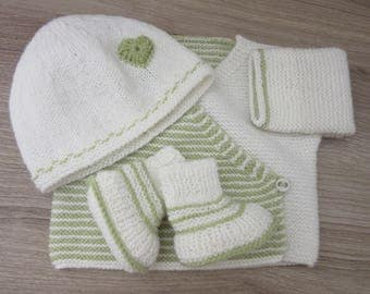 Set: Hat, jacket and booties size newborn