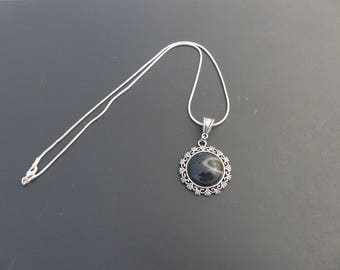 Pendant necklace gemstone semi precious agate onyx
