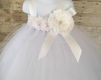 White flower girl dress, baby tutu dress white, tulle flower girl dress, white tutu girl dress,  flower girl dress tulle, baby dress