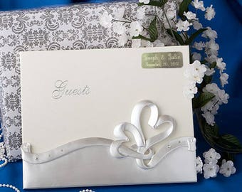 Personalized Engraved Interlocking Hearts Design Wedding Guest Book