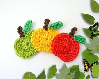 crochet 3 apples, red yellow and lime green