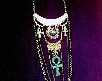 Egyptian Sri Yantra Ankh Neckpiece/Earrings/Set - Egypt immortality shri yantra pyramid goth vampire dracula