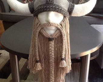 Bearded Viking hat, bearded viking helmet, viking hat, beard hat, viking helmet, halloween costume, newborn to adult,any color, colors
