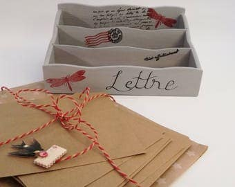 Put letters in wood, grey vintage style, wooden mail holder