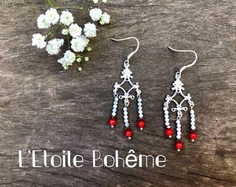Howlite, sea bamboo and Hematite earrings