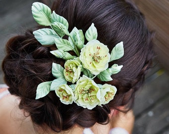 Barrette wedding pink wild rose silk, bride, Bridal hair accessory