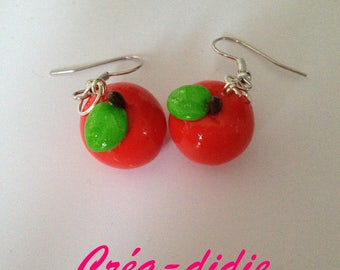 Red Apple earring and his little green leaf