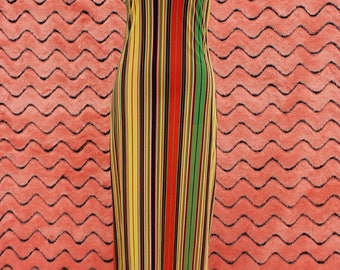 1970s Racer back striped maxi dress
