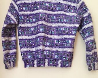 Vintage kids sweater/pullover/jumper. 90s purple patterned abstract