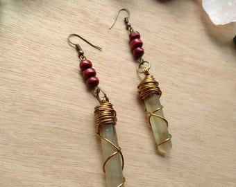 smoky quartz crystal earrings