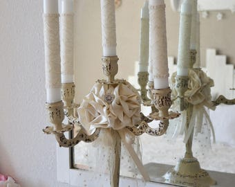 Candle holder shabby chic 5 branches and flowers