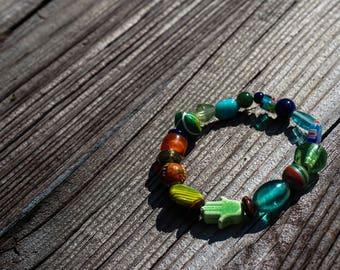 "Glass Bead Hamsa Bracelet- ""Free Spirit"" size SM"