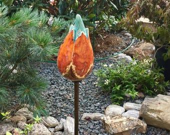Handmade decorative ceramic flower garden stake, Flower garden stake, Garden sculpture, Garden art, Yard art, Garden decor, ceramic flower