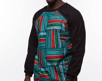 Men's African Print Front-Covered  Sweatshirt