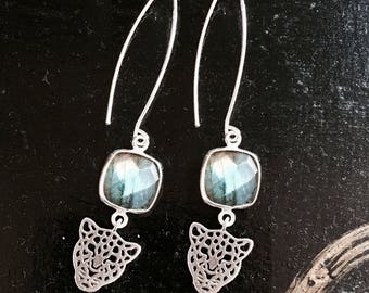 Earrings in 925 sterling silver and Labradorite set