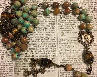 Catholic Rosary Beads - Aqua Blue Jasper, Brown Jade, and Tiger's Eye 5 Decade Rosary with Bronze French Filigree Center and Crucifix