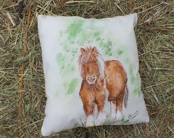 Nice cushion ecru painted Freehand: sweet pony