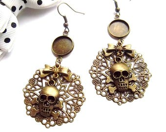 Supports bronze earrings cabochon 12mm, round print, bow tie and skull