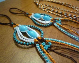 Foot jewelry / Barefoot micro macrame and beads blue/brown/orange