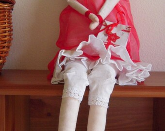 Large doll of rags with flashing tote bag