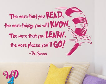 The More That You Read Dr Seuss Nursery Kids Wall Art Dr Seuss Wall Decal Dr. Seuss Classroom Dr Seuss Decal Quotes Vinyl Lettering WD003